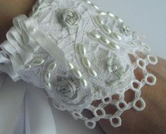 Bridal Wrist Cuff silk ribbon embroidered with by handcraftusa
