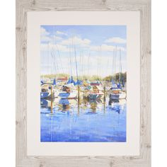 Masts Down. Sailboats on a sunny day are docked in harbor. Framed in a rustic whitewash wood molding. Contemporary Wall Decor, Modern Wall Art, Metal Wall Art, Framed Wall Art, Framed Prints, Wood Molding, Whitewash Wood, Beach Art, Nautical Theme
