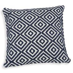 Housse de coussin motifs jacquard bleus 40x40cm LINDOS