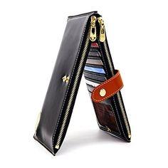ANDOILT Women's Genuine Leather Wallet RFID Blocking Credit Card Holder Zipper Purse Cell Phone Handbag black #wallet
