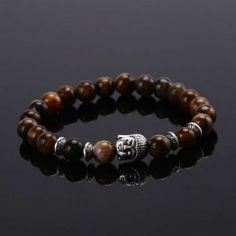 HONEYYIYI  Natural Stone Buddha Beads Bracelet