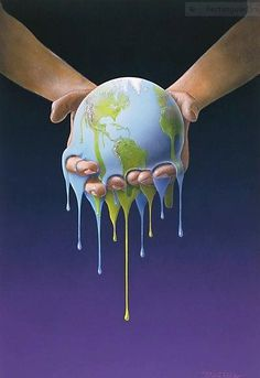 This image shows how Earth is held together by us and that if we don't take care of it, we will slowly start to lose what we have.