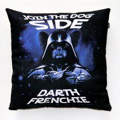 Dog Decorative Pillow, cushion French Bulldog Darth Frenchie by PSIAKREW on Etsy