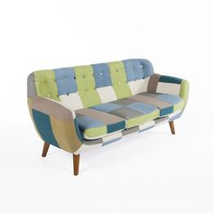 The Erica Sofa is made of solid ash wood construction with fabric tufted upholstery and buttons Fabric ash wood Weight: No Assembly RequiredDimensions: x Mid Century Sofa, Mid Century Furniture, Sectional Sofa, Sofas, Patchwork Sofa, Patterned Furniture, Led Furniture, Small Sofa, Home Decor Store