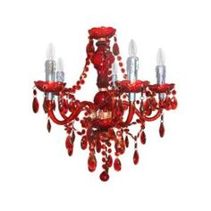 Summer Colour 5 Arm Chandelier in Red
