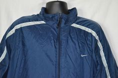 Nike Mens XXL Navy Blue Zip Up Windbreaker Jacket Silver Gray Stripe Lined #Nike #Windbreaker