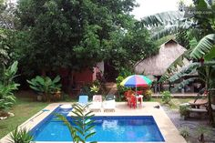 bambu hostel with a pool and garden in David