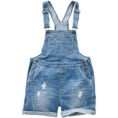 Fat Face Extra Wash Ripped Dungaree Shorts, Denim ($32) ❤ liked on Polyvore featuring shorts, overalls, rompers, dresses, denim dungaree and fat face