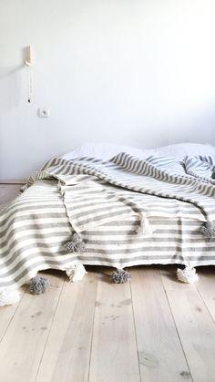 Image of Moroccan POM POM Cotton Blanket - Grey Stripes