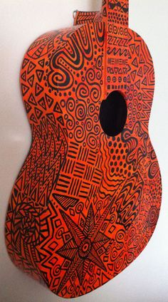 Orange Pattern Painted Guitar by BeesCuriosityShoppe on Etsy, $315.00