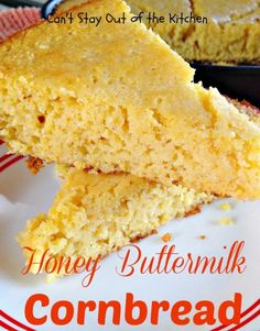 Honey Buttermilk Cornbread - delicious #cornbread recipe that's light and fluffy. #glutenfree #bread via Can't Stay Out of the Kitchen