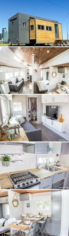 The Aurora: a tiny house that expands at the push of a button! The Aurora: a tiny house that expands at the push of a button! Modern Tiny House, Tiny House Living, Tiny House Design, Tiny House On Wheels, Small House Plans, Tiny House Nation, Home Remodeling Diy, Tiny House Movement, Tiny Spaces