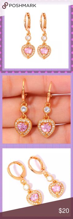 """Yellow Gold Pink Topaz/CZ Huggie Earrings BEAUTIFUL Yellow Gold Filled Heart Shaped Pink Topaz surrounded by cubic Zirconia stones, Huggable Pierced Earrings, absolutely Stunning! Approx. 1 1/4"""" LCOMES IN JEWELRY BOXPRICE IS FIRM Boutique Jewelry Earrings"""