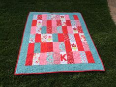 "1st Birthday Baby Quilt  Made with 5x10"" rectangles"