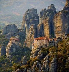 "The Metéora (""suspended rocks"", ""suspended in the air"" or ""in the heavens above"") is one of the largest and most important complexes of Eastern Orthodox monasteries in Greece, second only to Mount Athos."