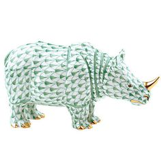 Herend Hand Painted Porcelain Figurine Rhino Green Fishnet Gold Accents.