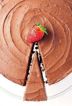 Decadent Dark Chocolate Buttercream Frosting with Strawberry Cake Recipe | shewearsmanyhats.com