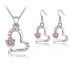Heart Necklace & Earring Setwith Crystal Accents