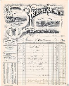 FACTURE MANUFACTURE DE FAIENCES ET DE PORCELAINES SAINT AMAND LES EAUX 1904