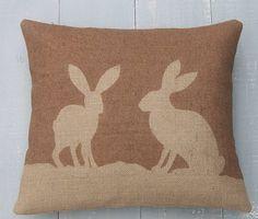 Country Hare Hessian Cushion