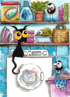 ACEO Original watercolor painting Lucia Stewart whimsical black cat laundry duty…
