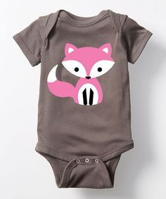 Love this Charcoal & Pink Cute Fox Bodysuit - Infant on #zulily! #zulilyfinds