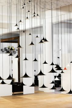 GUBI showroom in Copenhagen, Denmark. Custom composition of off the rack Gubi pendants Lighting Showroom, Interior Lighting, Modern Lighting, Lighting Design, Interior Exterior, Interior Design, Modern Interior, Danish Modern, Design Light