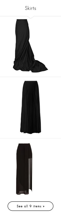 """Skirts"" by skullkid ❤ liked on Polyvore featuring skirts, bottoms, maxi skirts, long skirts, long fishtail skirt, rick owens skirt, maxi skirt, fishtail skirt, faldas and black"