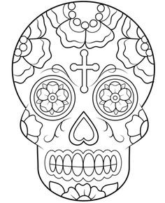 Calavera (Sugar Skull) coloring page from Sugar Skulls category. Select from 24104 printable crafts of cartoons, nature, animals, Bible and many more.