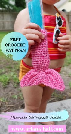 The mermaid tail popsicle holder free crochet pattern for summer ariana hall crochet projects for kids 9 super fun easy free patterns Crochet Gratis, Cute Crochet, Crochet For Kids, Crochet Yarn, Crotchet, Crochet Ideas To Sell, Crochet Summer, Crochet Kitchen, Crochet Home