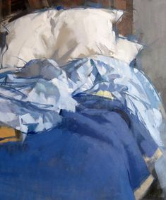 """""""Blue Bed"""" Maggie Siner inches oil on linen Painting Inspiration, Art Inspo, Painting & Drawing, Watercolor Paintings, Blue Bedding, Neutral Bedding, Queen Bedding, Bedding Sets, A Level Art"""