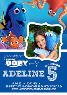 Finding Dory Birthday invitation - perfect for a Finding Dory party