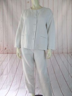 f1fd8e05523 Eileen Fisher Off White Blazer Set M Irish Linen Soft 2pc Pant Suit Size 8 ( M). Tradesy