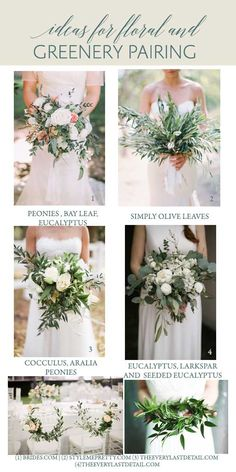 Wedding Greenery Inspiration Ideas For Bridal Bouquets. Looking for inspiration for your fabulous greenery themed wedding? We are very simply in love with the simplicity of greenery- its an official gorgeous win! Green is everywhere. It's also the most common color in the natural world, second only to blue as the most common favorite color.
