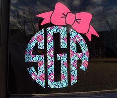 Lily Pulitzer circle monogram decal with bow by 3pupsCrafts on Etsy https://www.etsy.com/listing/262788927/lily-pulitzer-circle-monogram-decal-with