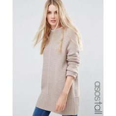 ASOS TALL Ultimate Chunky Jumper featuring polyvore, women's fashion, clothing, tops, sweaters, mink, oversized jumper, round neck sweater, asos tops, over sized sweaters and jumper top