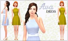 Ava Dress by Banana-SimsMy first clothing mesh-up! This was an interesting challenge, but I honestly love how it turned out. Some of the swatches would be so cute as bridesmaids dresses! • 31 total swatches: some neutrals, some pastels, some brights,...