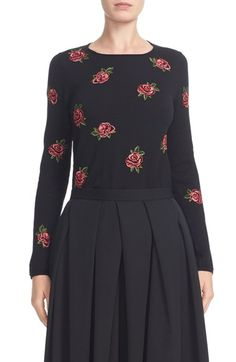 Free shipping and returns on Comme des Garçons Rose Embroidered Wool Sweater at Nordstrom.com. Rich embroidered roses burst into bloom on a pretty crewneck sweater made from soft, finely ribbed worsted wool.