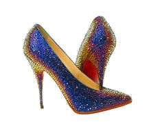 Christian Louboutin Rainbow Blue High-Heel Crystal Shoes