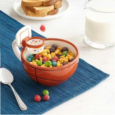 This fun mug features a mini basketball hoop to play with your food.