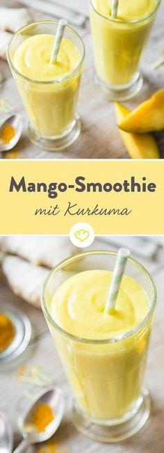 Mango smoothie and superfood turmeric - Smoothie-Challenge - Smoothie Recipes Smoothie Challenge, Smoothie Prep, Smoothie Drinks, Detox Drinks, Healthy Smoothies, Smoothie Detox, Healthy Drinks, Smoothie Recipes, Healthy Recipes