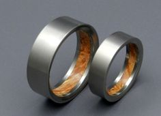 These rings have a delectable secret tucked inside. Glowing Brown Box Elder, magnificently marbled with warm peach and burnt orange burl, creates delightful depth and showcases your 'inner beauty'. Ea