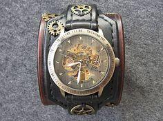 leon / Steampunk hodinky hnedo čierne antialergické