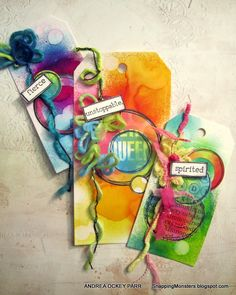 Andrea was spritzing up a storm to make this colorful trio of tags for the Simon Says Stamp Monday Challenge!