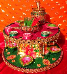 A double tiered spectacular Mehndi plate. See my Facebook page Www.facebook.com/mehnditraysforfun