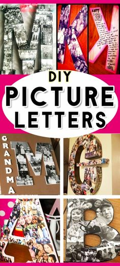 DIY Gift Ideas For Mom - PICTURE LETTERS you can make with photos and modge podge! Easy DIY way to preserve keepsake photos and memories. All pictures from the post: Thoughtful Homemade Gifts: DIY Picture Letters Letter Picture Collages, Make A Photo Collage, Letter Collage, Picture Letters, Diy Letters, Wooden Letters, Letters With Pictures, Modge Podge On Wood, Mod Podge Crafts