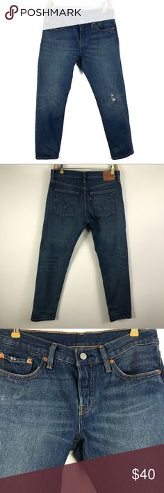 "Levi's Men's Tapered Denim Jeans size 26 Ins 28"" Levi's 501 Men's Custom and Tapered Jeans size 26 Ins 28""  In excellent condition  Flat Measurements  Waist 16"" Rise 9"" Inseam 28"" Leg Opening 6""  Item Number 65UTCS001 Levi's Jeans Slim"