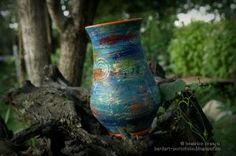 orange curled vase - hand painted clay pots