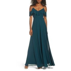 Women's Jenny Yoo Cold Shoulder Chiffon Gown ($285) ❤ liked on Polyvore featuring dresses, gowns, caspian sea, cold shoulder dresses, chiffon ball gown, cold shoulder gown, chiffon evening gown and blue dress