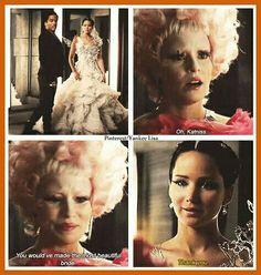 Efie looks genuinely upset and sad for Peeta and Katniss.